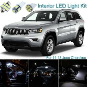 8x Blue LED Lights Interior Package Deal For 2017 2018 Jeep Cherokee