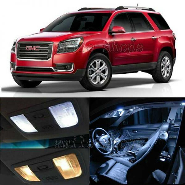 16pcs White LED Interior Bulbs + License Plate Lights Fit For 07-15 GMC Acadia