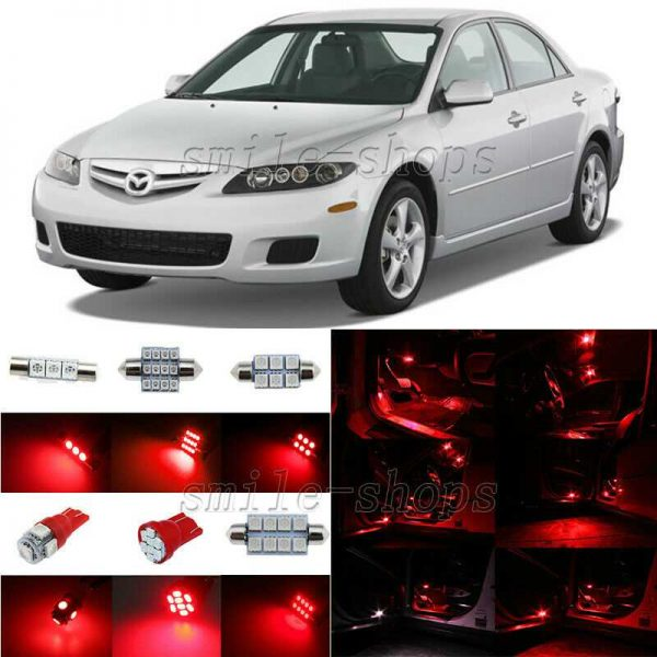 8pcs Brilliant Red LED Interior Lights Package Fit For 2003-2008 Mazda 6