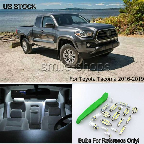 12x For 2016-2019 Toyota Tacoma Bright White LED Interior Light Package kit+Tool