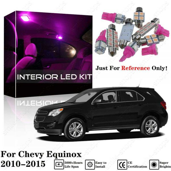 11X Pink Interior LED Light Kit +Pink License Light For Chevy Equinox 2010-2015