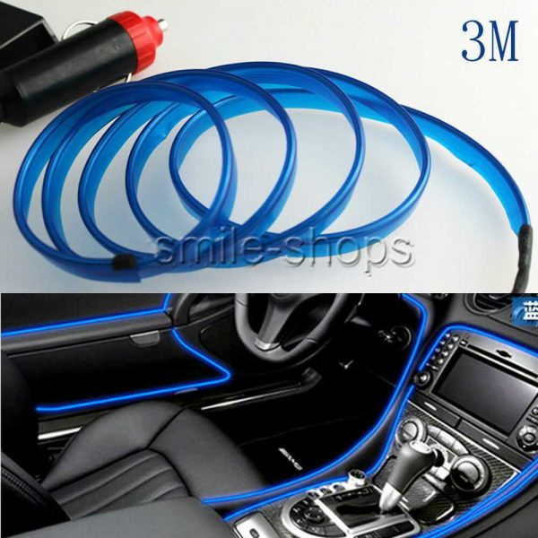 3M 12V Vehicle Ambient Interior Ultra Blue Cold Light Strip Atmosphere Neon Lamp