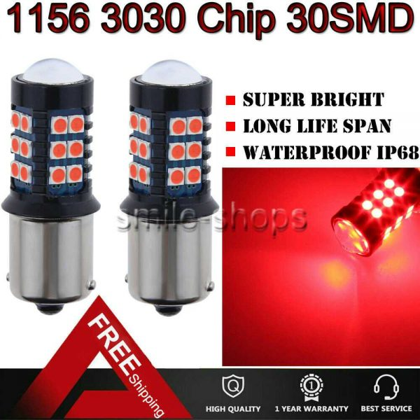 7506 1156 3030 30SMD LED Brake Stop Light Bulbs For Audi BMW Pure Red Error Free