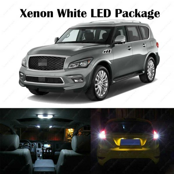 15 x White SMD LED Interior Bulbs + Reverse + Tag Lights For 2005-2016 QX56 QX80