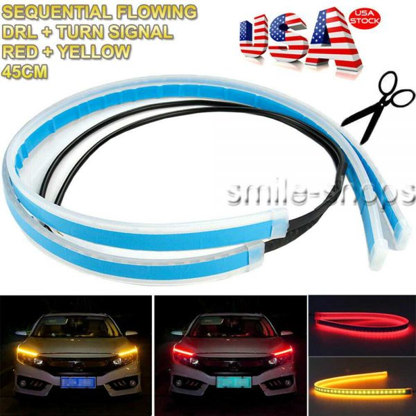 45CM Switchback Car LED DRL Light Strip Headlight Flowing Turn Signal Red&Amber
