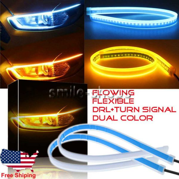 60CM Ice Blue Amber Flow Sequential Flexible LED DRL Turn Signal Headlight Strip