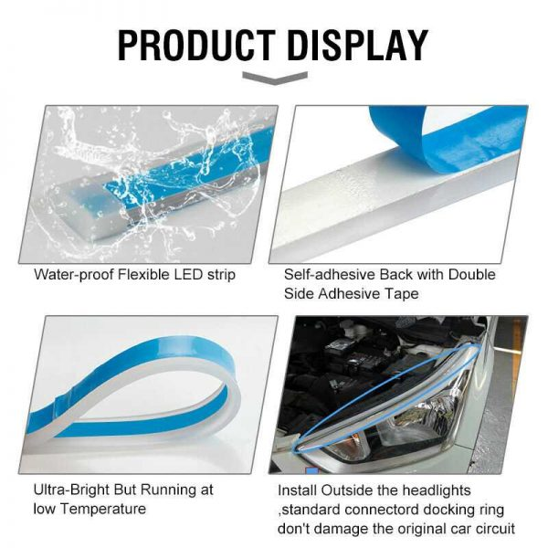 """60CM 24"""" Ice Blue Amber Sequential Flexible LED DRL Turn Signal Headlight Strip"""