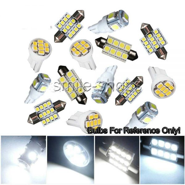 14X White LED Light Interior Package Kit Fit T10 & 31mm Map Dome + License Plate