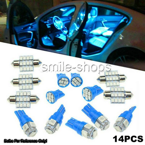 14X Ice Blue LED Light Interior Package Kit Fit T10 &31mm Map Dome+License Plate