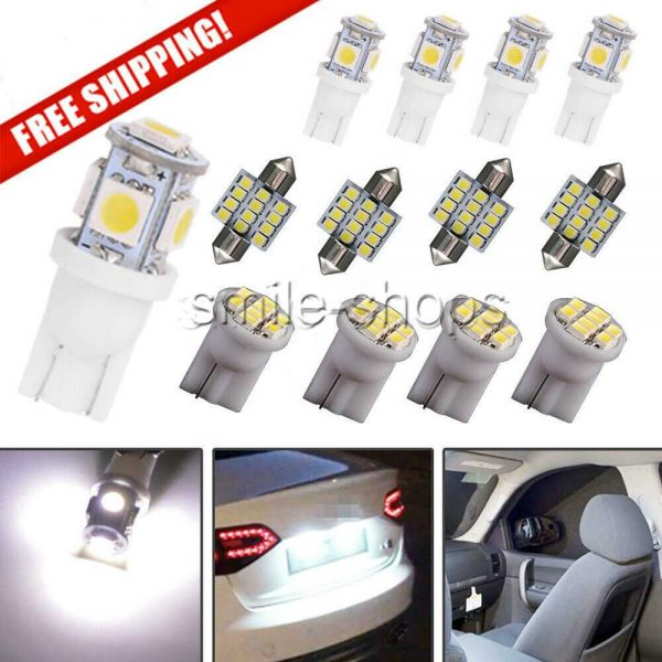 13x Bright White LED Lights Interior Package Kit Dome License Plate Lamp Bulb
