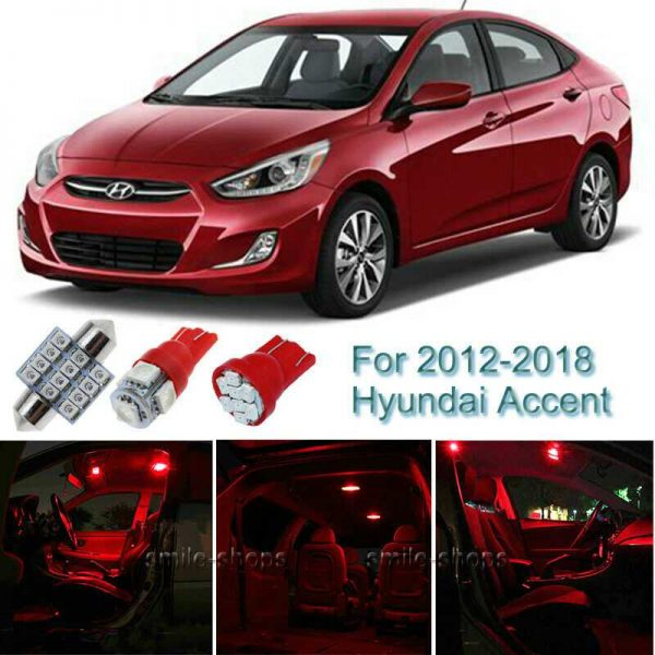 6pcs Red Interior LED Light Package Kit For 2012-2016 2017 2018 Hyundai Accent