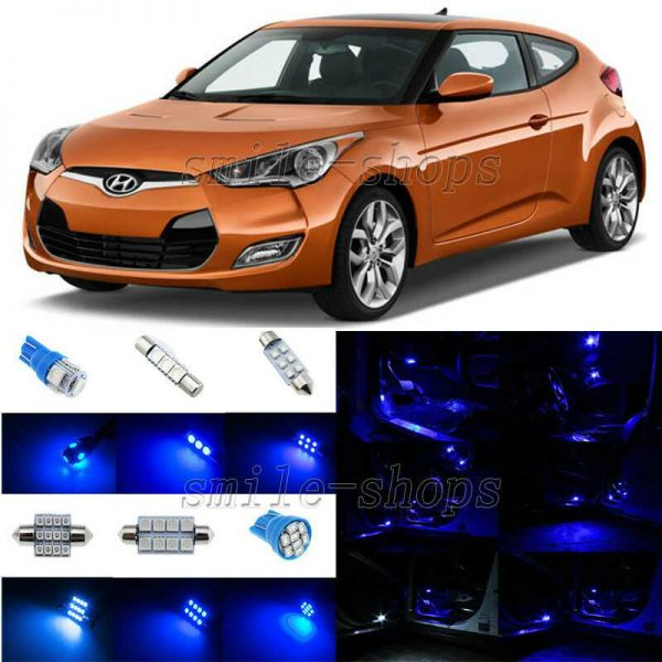 8pcs Ultra Blue LED Interior Light Package Fit For 2012-2014 Hyundai Veloster