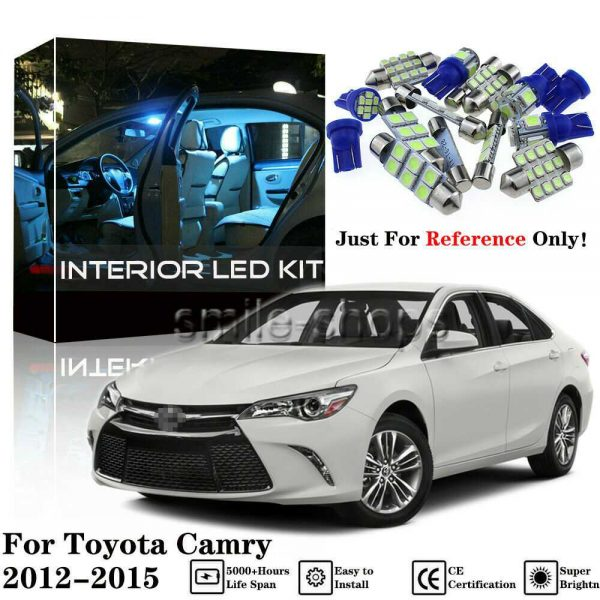 15Pcs Ice Blue LED Interior Light Bulbs Package Kit For Toyota Camry 2012-2015
