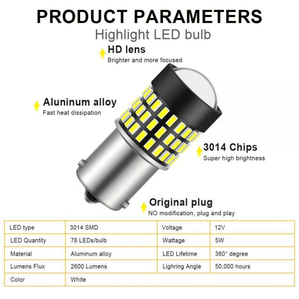 GLOFE 1200 Lumens 1156 Bulbs for Backup Reverse Lights 48-SMD 4014 LED Chipsets with Projector