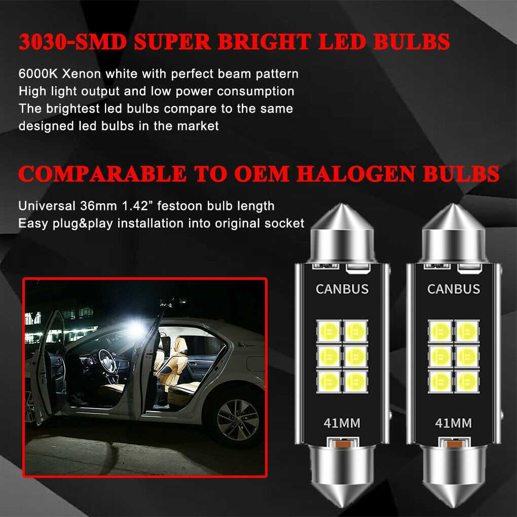 211-2 Error Free 212-2 41MM 42MM Festoon LED Bulbs for Dome Light Interior Car License Plate Map Door Courtesy Lights, by GLOFE