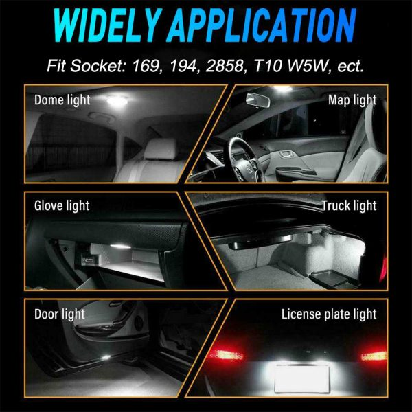 194 168 2825 LED Bulbs, Widely Used as License Plate Lights Car Truck Interior Dome Map Door Courtesy Marker